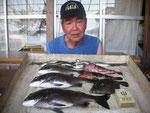 8月30日 ダゴチン釣りで古家さん チヌ35㎝を頭に3匹 ガラカブ・ハタ21㎝ カワハギ20㎝