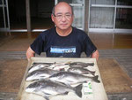 6月25日 ダゴチン釣りで今田さん チヌ44㎝~35㎝を3匹 クロ25㎝前後2匹 アジ23㎝前後2匹