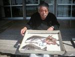 5月18日 ダゴチン釣りで御手洗さん 良型チヌ46㎝・43㎝ ビッグガラカブ28㎝・17㎝