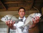 5月8日 ダゴチン釣りで村島さん チヌ38㎝・35㎝