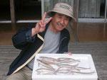 5月16日 ボートからのキス釣りで桜井さん キス14匹