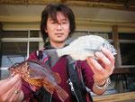 4月26日 ボートから太田さん メイタ26.5㎝・ガラカブ23.5㎝