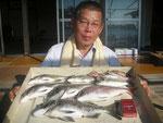 7月10日 ダゴチン釣りで宮村さん チヌ39㎝を頭に5匹 マダイ34㎝