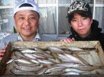 4月1日 ボート釣りで増田親子 キス32匹