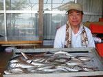 7月17日 ボート釣りで長江さん キス23㎝を頭に36匹 トラギス9匹 マゴチ4匹 グチ4匹