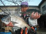 3月30日 初めての松島の磯からNさん 良型チヌ46㎝とクロ28.8㎝