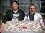 6月3日 ボート釣りで樋口さんと下ハ重さん キス116匹 約27㎝~16㎝位。正確な長さは調理済みで不明