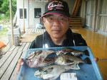 7月3日 夜釣り(磯)で石貫さん クロ28.5㎝ ガラカブ26㎝ メバル25.5㎝~23.5㎝を3匹