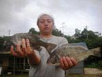 7月2日 ボート釣りで松田さん チヌ38㎝・36.5㎝