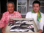 5月21日 ダゴチン釣りで岩根親子 良型チヌ48㎝を頭に5匹 クロ32㎝