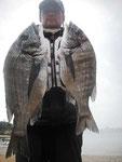2月27日 磯釣りで西口さん 良型チヌ47㎝・40.5㎝