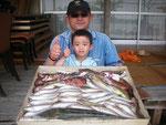 5月15日 ボート釣りで石橋親子 マゴチ43㎝