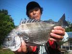 5月15日 磯釣りで谷田さん チヌ41㎝