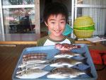 7月29日 ダゴチン釣りで妻夫木くん メイタ28㎝を頭に3匹 アジ24㎝を頭に3匹 トラギス・ガラカブ