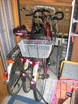 Platz für drei Fahrräder, ein Schlupfdurchgang bleibt frei, Hecksitzgruppe, Küche und Bad bleiben dadurch zugänglich
