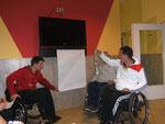 Präsentation des Eierweitwurfgeräts Team A - Trainingslager 2013