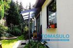 Haustür Vordach mit mattem Glas
