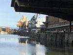 Die Umschlaganlagen im leeren Hafenbecken 1 im November 2020