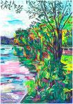 L'étang de la Tour, pastel gras et encre, 42X30 cm