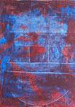 Nr. 2019-27; Farbenspiel blau-rot, Acryl, gespachtelt, 36x48, Zeichenkarton; VERGEBEN