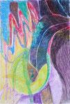 Titel: Befruchtung, Wachsmalkreide auf Papier