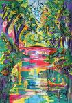 L'adieu aux platanes du canal du midi, pastel gras et encre, 42X30 cm