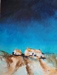 Häuser am Berg, Acryl auf Keilrahmen 60x80 cm, 220 Euro