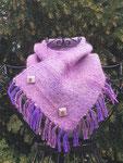 Halsschmeichler aus Suri Alpaka und Seide beides handgefärbt, handgesponnen und verwebt