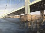2018 Rodenkirchener Brücke 2 80x60cm 560,-€ (Bild hängt im Höninger in Zollstock)