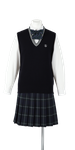 吉野川高校女子合い制服(ニットベスト着用)