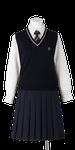 川島高校女子合い制服(ニットベスト着用)