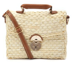 Cream Woven Straw Satchel, New Look