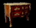 commode après restauration, placage bois de rose, bois de violette, marbre, vernis au tampon