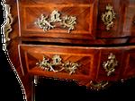 commode face tiroir placage bois de rose bois de violette avant restauration