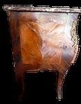 commode côté placage bois de rose bois de violette avant restauration