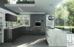 Façades acryliques gris anthracite brillant - Jambage et plan de travail stratifié imitation béton.