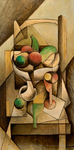 FRUIT ON CHAIR - Oil on wood - 60x30cm - 2019