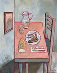 STILL LIFE PINK AND BLUE - Oil on canvas - 92x65cm - 2021