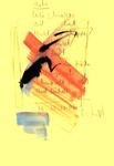 """""""Uschi"""" / Torrox, 30.10.2008 / """"Sprechbild"""" mit vorstehendem Text als Original Grafik mit Aquarellfarben, Tusche, Bleistift und Text auf gelbem Papier / B 21,0 cm * H 29,7 cm / Werkverzeichnis 3.806"""