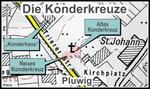 """Beide Kreuze stehen im ehemaligen """"Herrengarten""""/""""Pfarrgarten""""."""