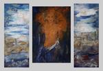 paysage aux Hespérides triptychon 130x90cm mitte und seiten 160x50 cm