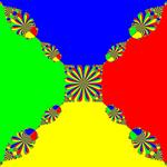 Basins of Attraction z^4-1=0, King-Verfahren, beta=0.1, B=[-2.5, 2.5]x[-2.5, 2.5]