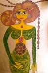 Ammonoidea, Femme-Fossile. Acryl, néopastel, néocolor aux doigts, sur bois. 70x100 © Saëlle Knupfer