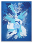 'Explosion of abstract blue' Formaat (bxhxd): 67x81x3