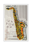 'Retro Saxophone' Formaat (bxhxd): 70x90x2