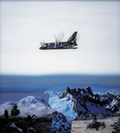 Paysage moderne à la navette spatiale (Hommage à Franz Radziwill) - huile sous verre - 115x103 cm - n°9/2000.