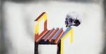 Sans titre n°17 (crâne sur chaise design) - huile sous verre - 78x143 cm - n° 24/2002 - série Caprices