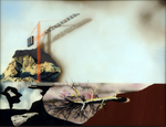 Hommage à Ruysdael V (avec ombres portées) - huile sous verre - 100 x 130 cm - 2004