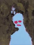 Tête (avec oiseau) - huile sous verre - 70 x 88 cm - 1992 - série des 50 têtes regardant à gauche et à droite