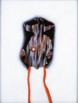 Tête (avec oiseau mort) - huile sous verre - 70 x 88 cm - 1994 - série des 50 têtes regardant à gauche et à droite